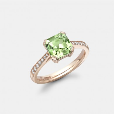 The Rose Gold, Green Tourmaline and Diamond Ring