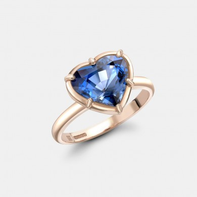 The Rose Gold and Blue Spinel Heart Ring