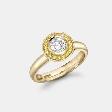The Yellow Gold and Yellow Diamond Halo Ring