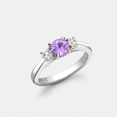 The Pink Sapphire and Diamond Trilogy Ring