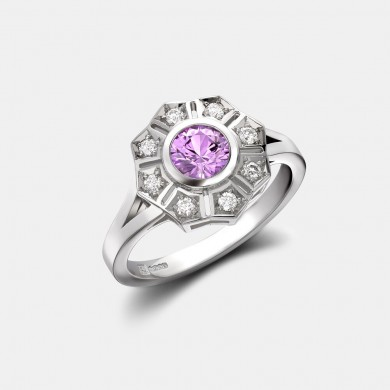 The Pink Sapphire and Round Diamond Cluster Ring