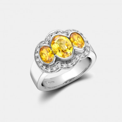 The White Gold, Yellow Sapphire and Diamond Ring