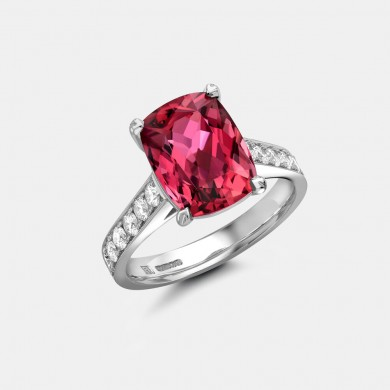 The Cushion Cut Rubellite and Diamond Ring
