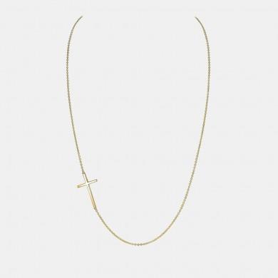 Yellow gold sideways cross necklace as worn