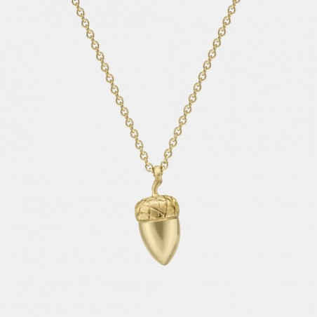 Solid gold acorn pendant in yellow gold