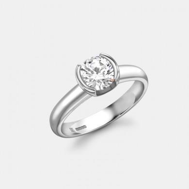 The Round Diamond Ring with Platinum Half Halo