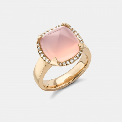 The Gold and Rose Quartz Pyramid Ring