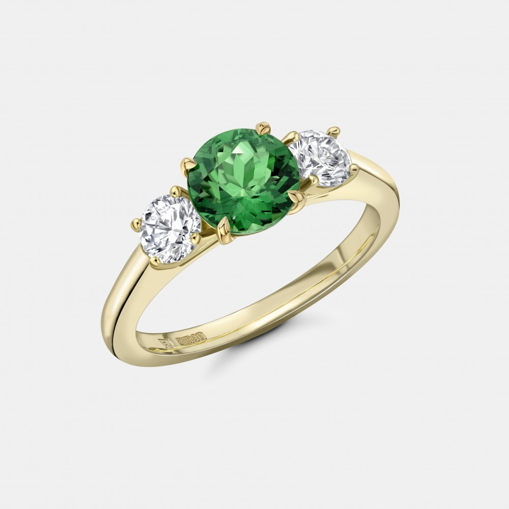 The Yellow Gold, Green Tsavorite and Diamond Trilogy Ring