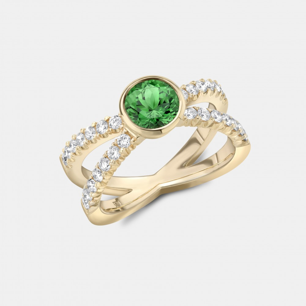 The Green Tsavorite and Diamond Kiss Ring