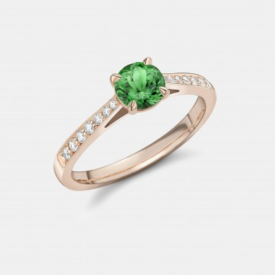 The Rose Gold, Green Tsavorite and Diamond Ring