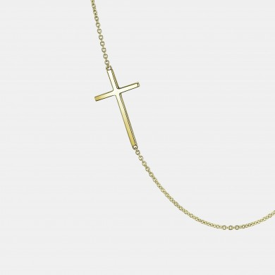The Gold Sideways Cross Necklace