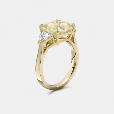 Yellow Sapphire and Diamond Ring in Gold Side View