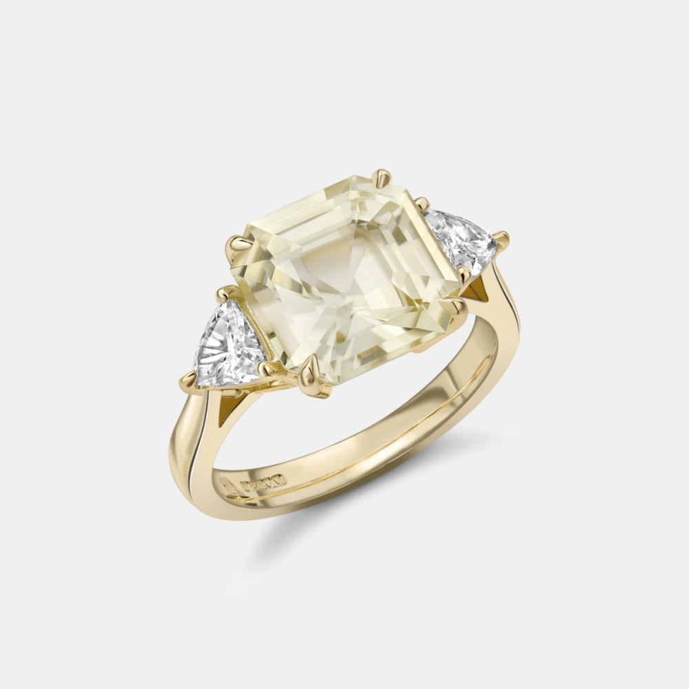 Yellow Sapphire and Diamond Ring in Gold