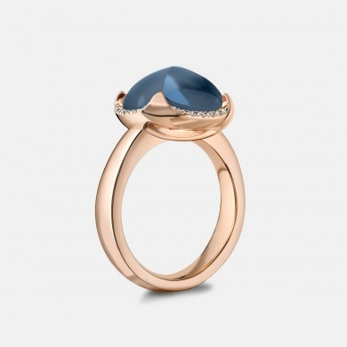 The Rose Gold and London Blue Topaz Pyramid Ring