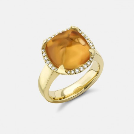 Gold and Citrine Pyramid Ring Top View