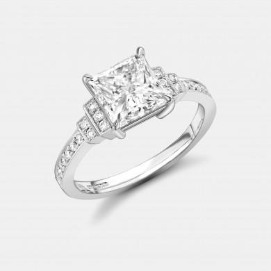 Top view of Robert Bicknell's Signature Princess Cut Diamond Ring