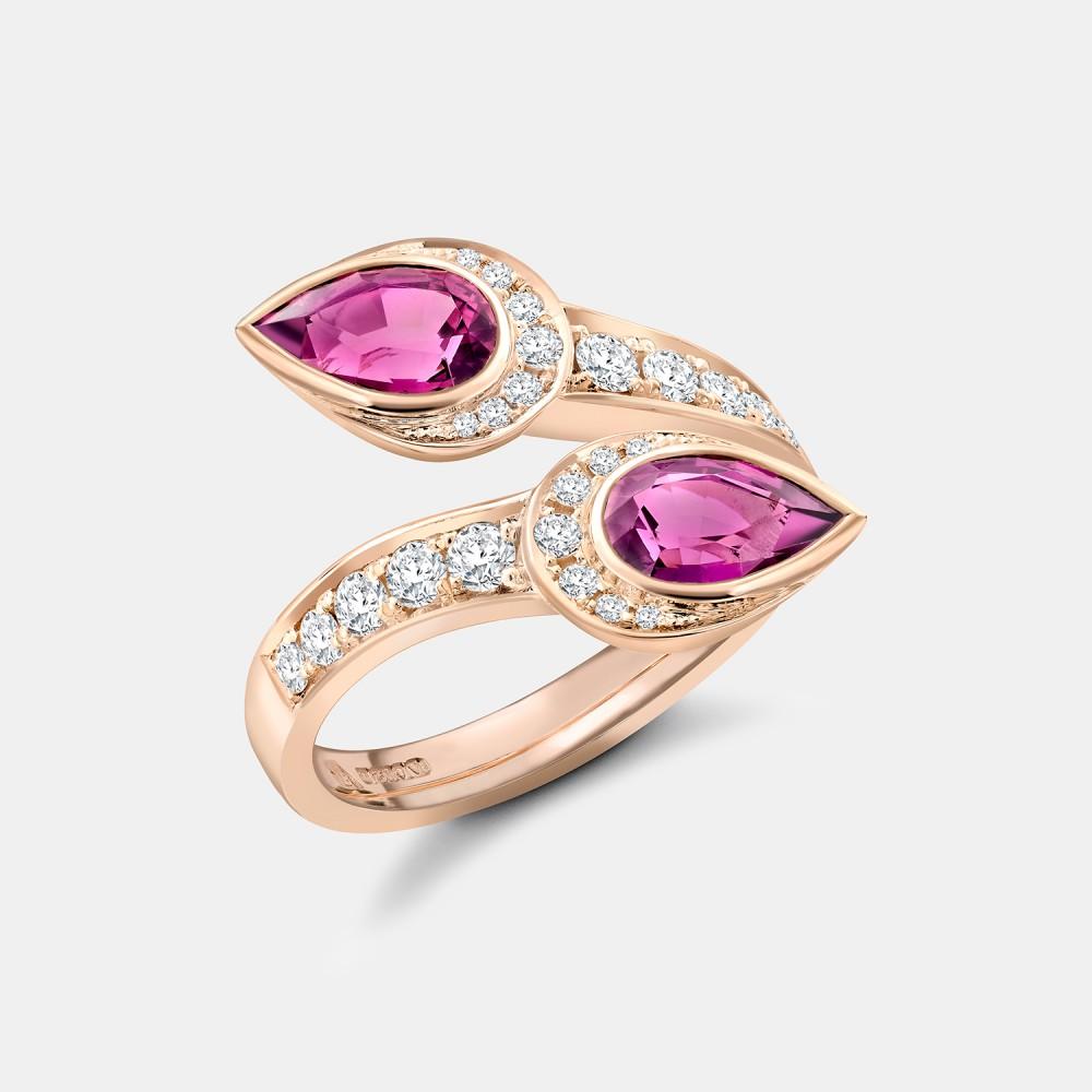 Amaranth Rhodolite Garnet Pink Serpent Ring from the Robert Bicknell Fine Jewellery Serpent Collection