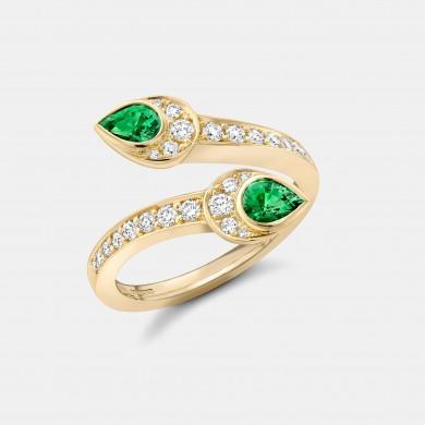 The Yellow Gold and Tsavorite Garnet Serpent Ring