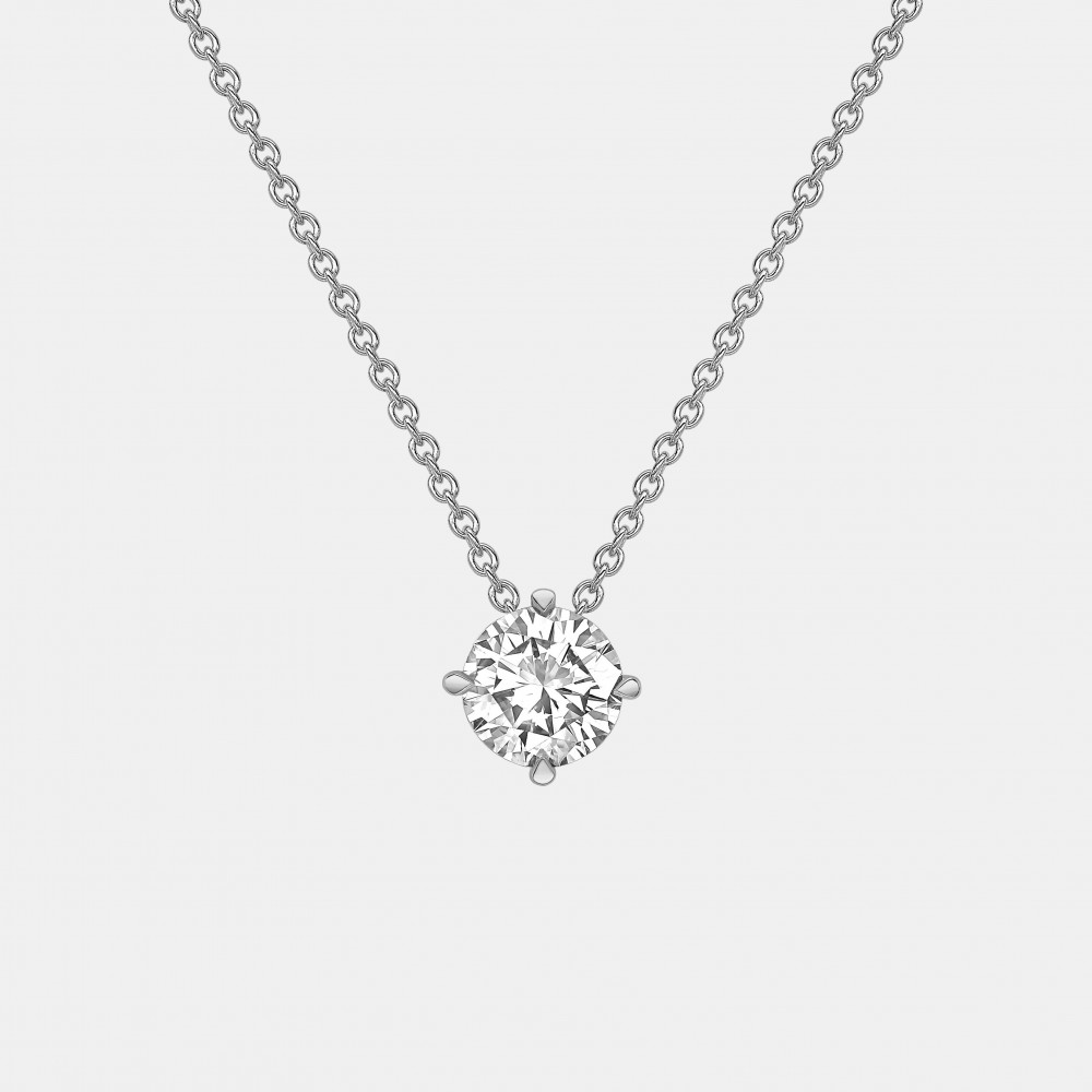 Round Diamond Pendant with Claw Setting in White Gold