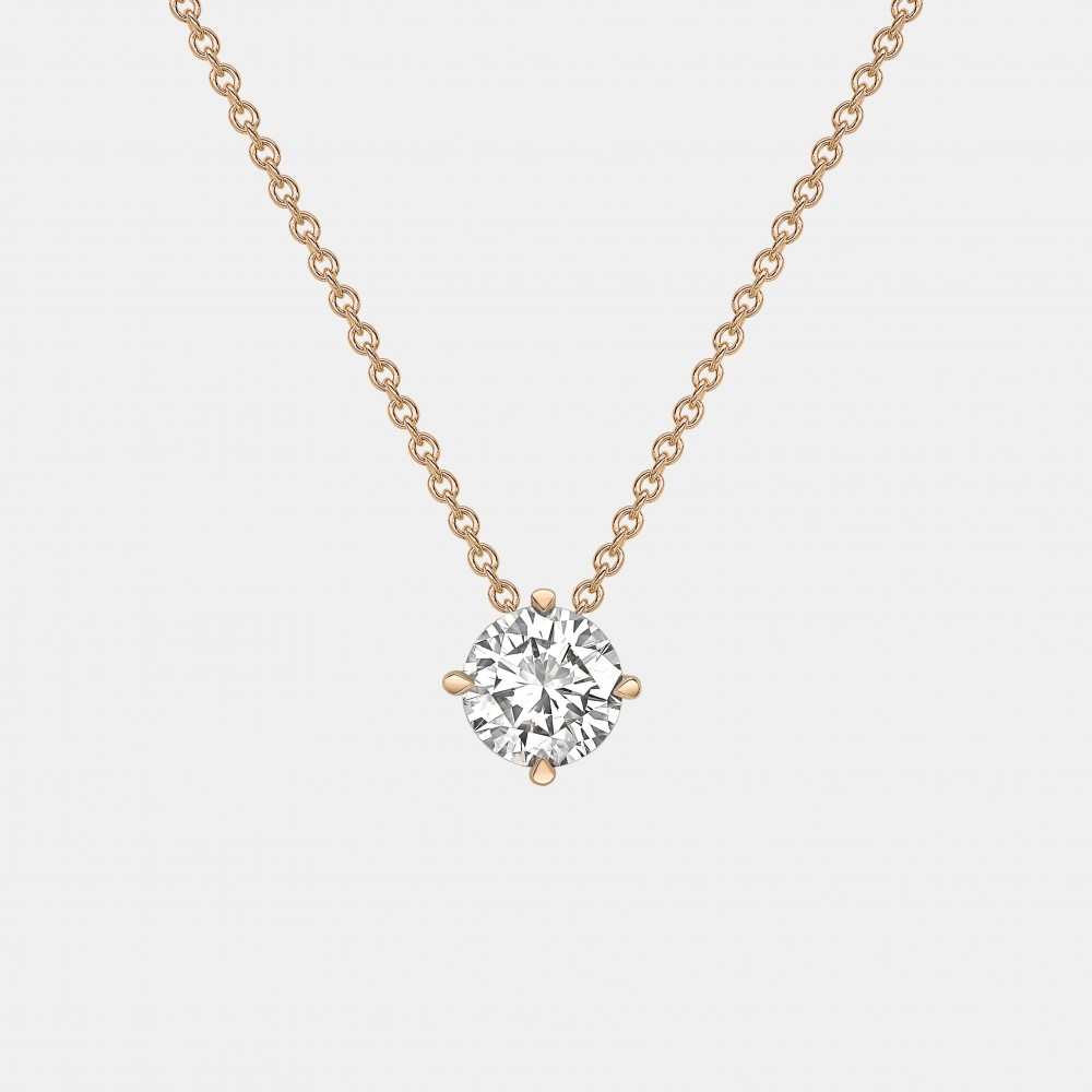 Claw Set Round Diamond Pendant in Yellow Gold