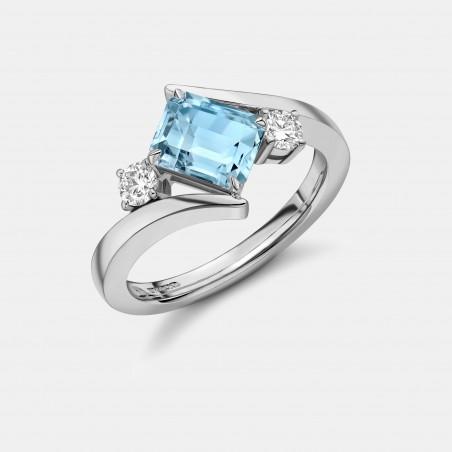 Emerald Cut Aquamarine and Diamond Ring