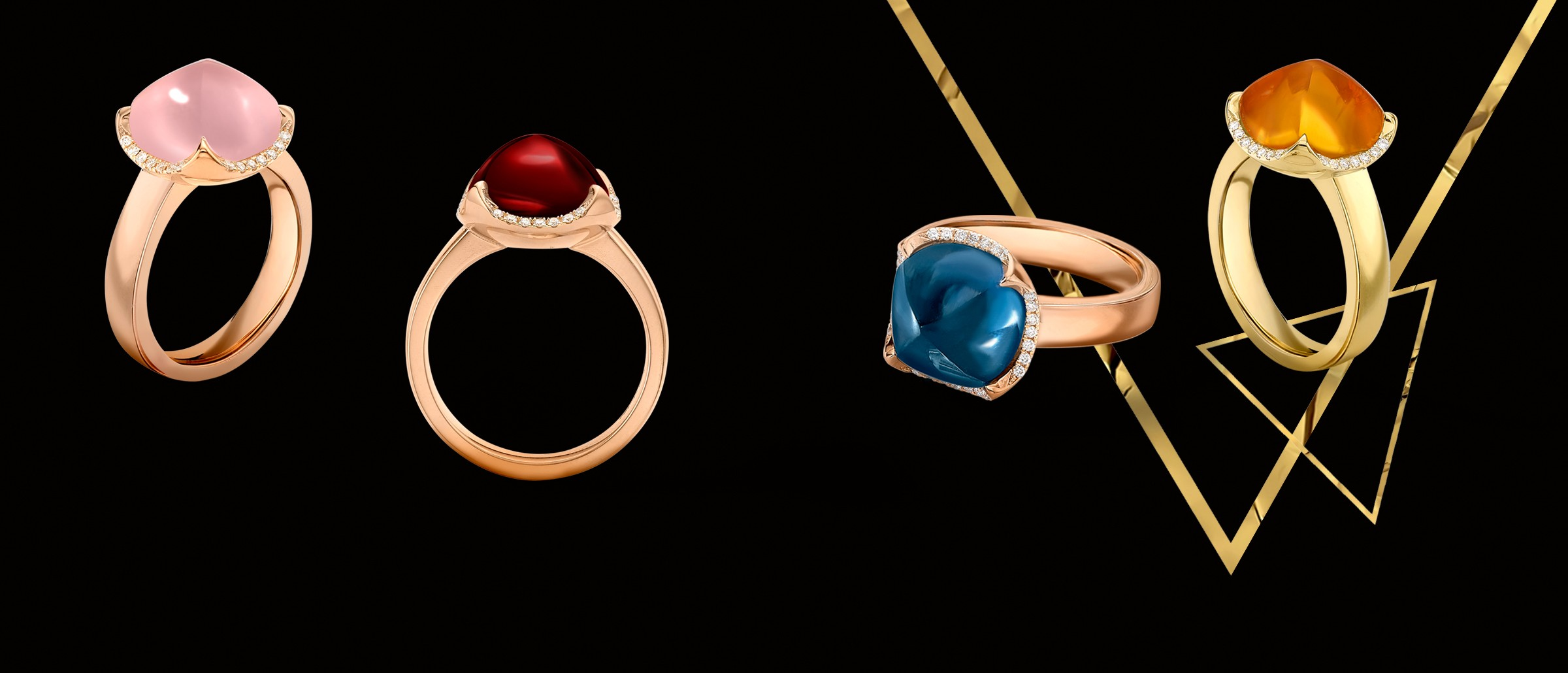 Our Iconic Gemstone Pyramid Rings